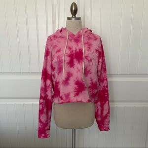 Wild Fable Pink Tie Dye Cropped Hoodie